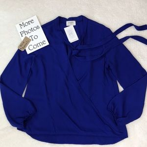 Everly Cobalt Blue Faux Wrap Top W/Tie At The Neck